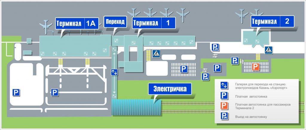 Схема терминалов международного аэропорта Казань
